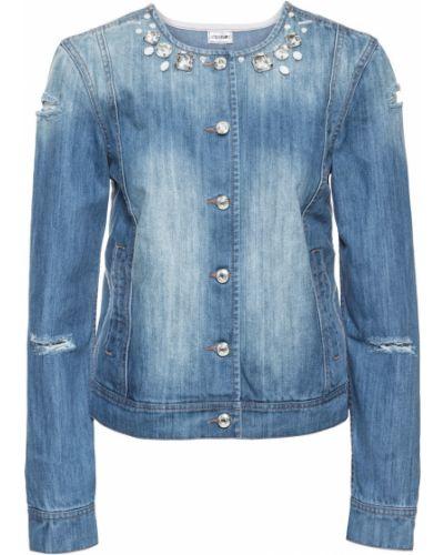 Джинсовая куртка со стразами Bonprix