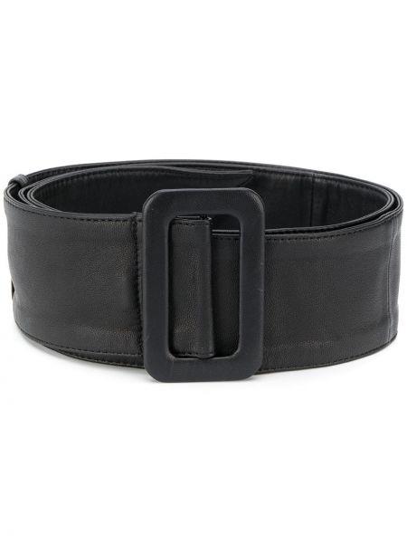 Кожаный черный ремень с пряжкой с поясом Federica Tosi
