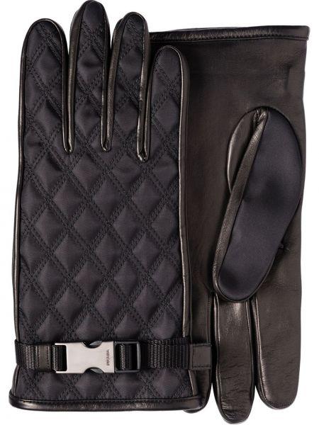 Dom pikowana czarny nylon skórzany rękawiczki Prada