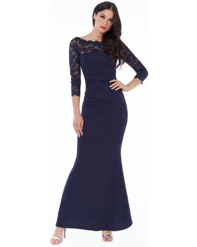 Облегающее кружевное синее вечернее платье Goddiva