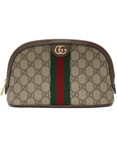 Brązowy bawełna skórzany skórzana torebka z łatami Gucci