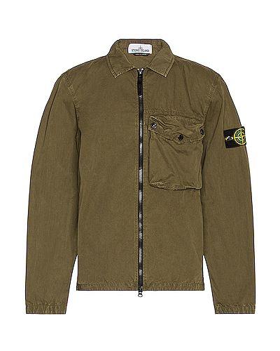 Хлопковая зеленая рубашка с вышивкой Stone Island