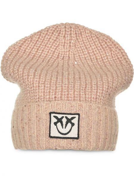 Różowy akryl czapka z łatami Pinko