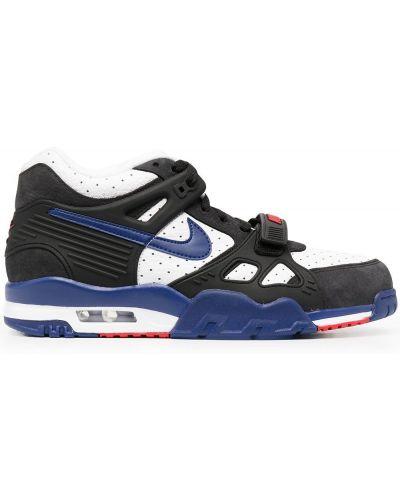 Кожаные черные высокие кроссовки на шнуровке Nike
