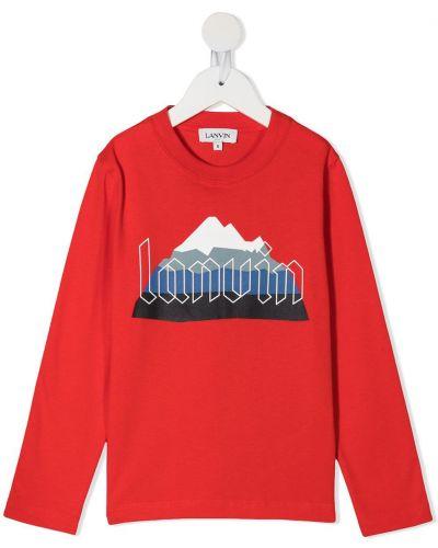 Красная хлопковая футболка с круглым вырезом круглая Lanvin Enfant