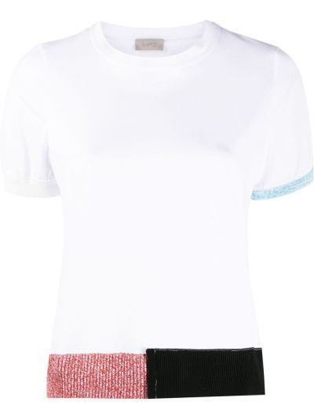Прямая белая футболка с вырезом Mrz