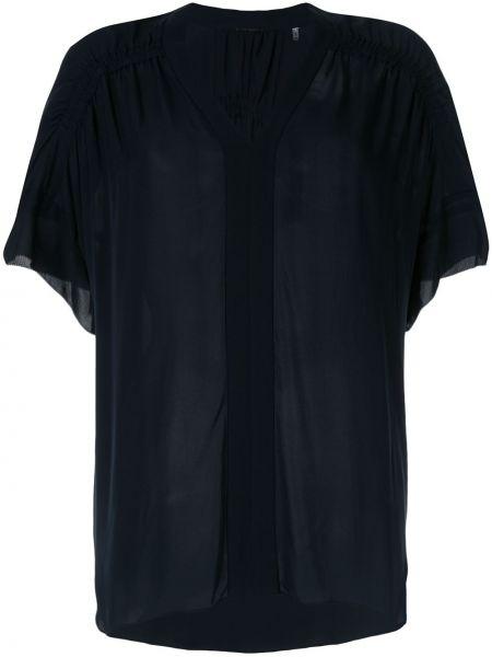 Czarna bluzka krótki rękaw z jedwabiu Elie Tahari