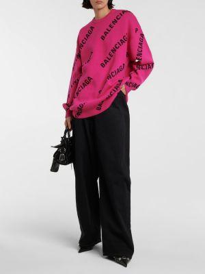 Sweter wełniany - różowy Balenciaga