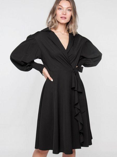 Платье с запахом черное Лимонти