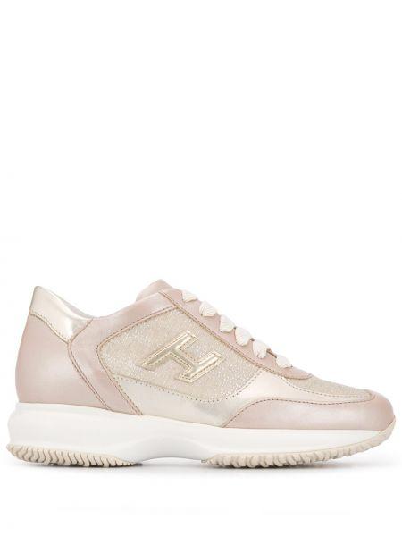 Skórzane sneakersy z logo różowy Hogan