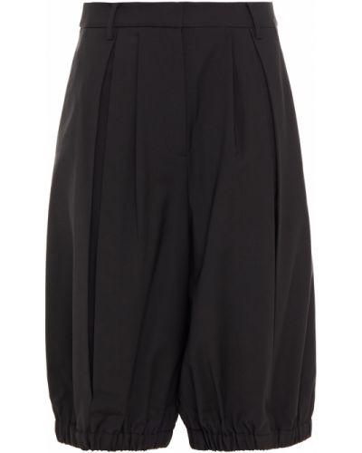 Czarne szorty wełniane z paskiem Tibi