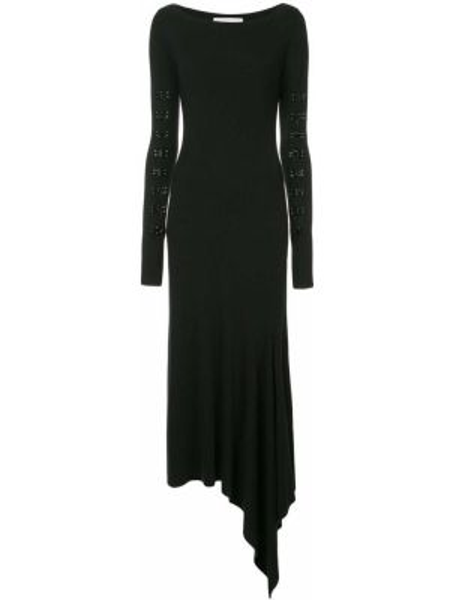 Черное асимметричное платье миди с вырезом эластичное Olivier Theyskens