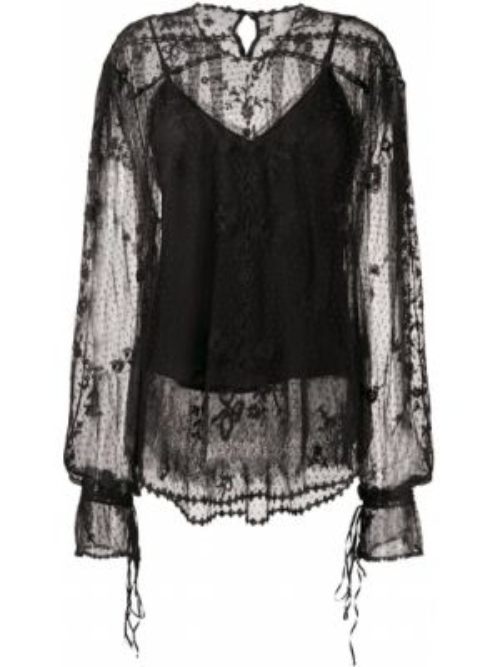 Кружевная блузка - черная Preen By Thornton Bregazzi
