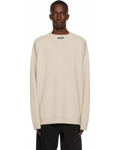 Sweter wełniany - beżowy Balenciaga