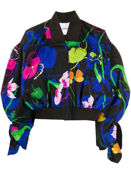 Черная длинная куртка с V-образным вырезом с длинными рукавами Ainea