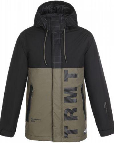 Зеленая утепленная длинная куртка на молнии Termit