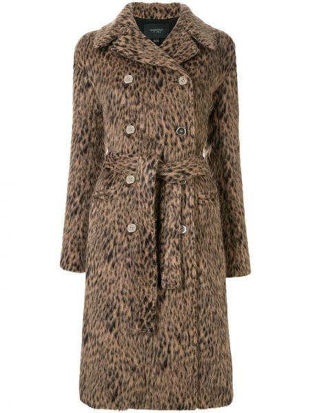 Коричневое длинное пальто с капюшоном двубортное Giambattista Valli