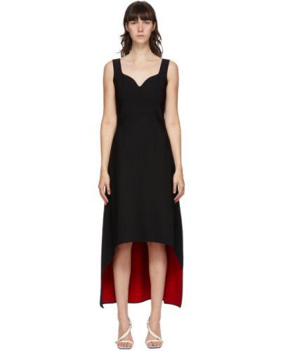 Черное асимметричное платье без рукавов стрейч Alexander Mcqueen