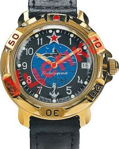 С ремешком кожаные синие часы на кожаном ремешке Vostok