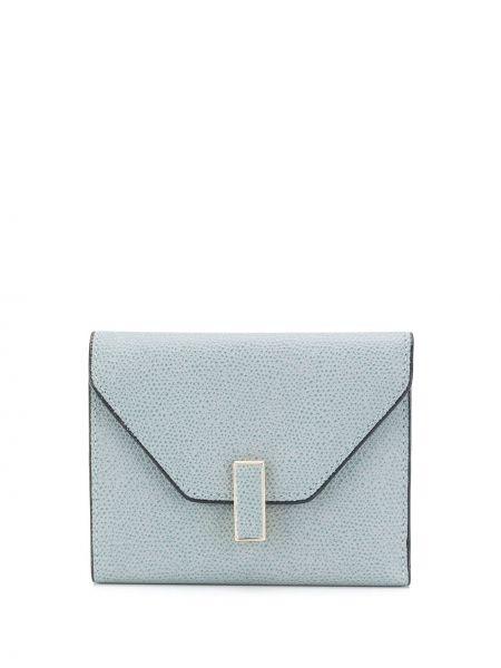 Кожаный синий кошелек для монет с декоративной отделкой Valextra