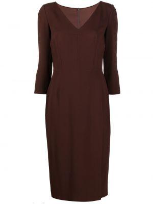 Коричневое шелковое платье макси с длинными рукавами Dolce & Gabbana