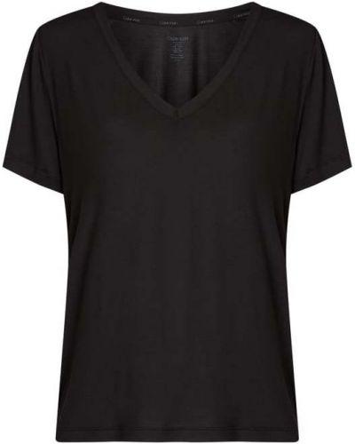 Czarna piżama z dekoltem w serek Calvin Klein Underwear