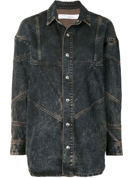 Хлопковая с рукавами синяя джинсовая куртка с воротником Iro