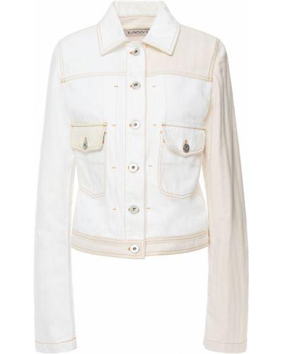 Кожаная куртка - белая Lanvin