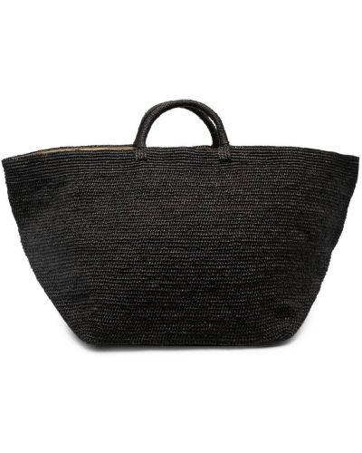 Prążkowana czarna torba na ramię oversize Ibeliv