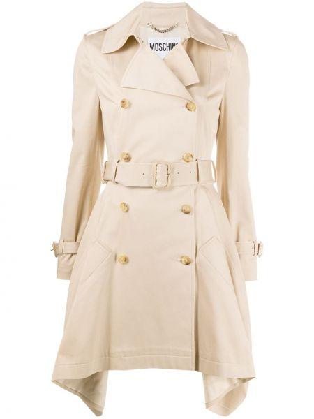 Хлопковое длинное пальто двубортное на пуговицах Moschino