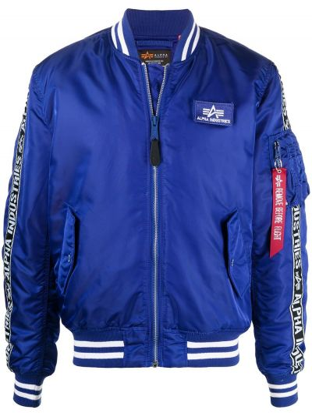 С рукавами синяя длинная куртка MA-1 с воротником Alpha Industries