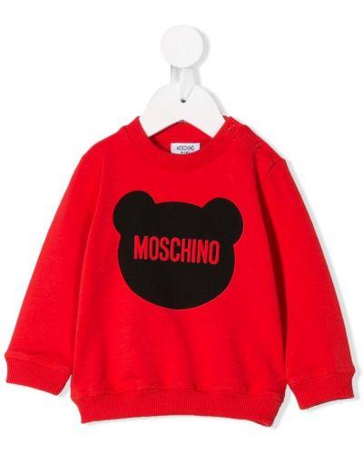 Толстовка с принтом красная Moschino Kids