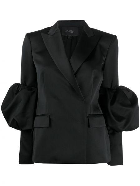 Шелковая черная куртка с запахом с карманами Giambattista Valli