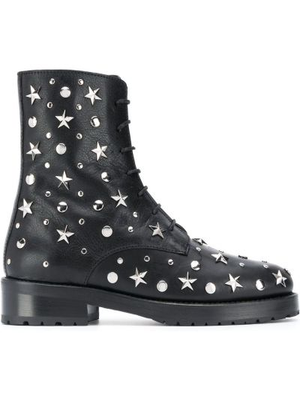 Czarne ankle boots skorzane koronkowe Redvalentino
