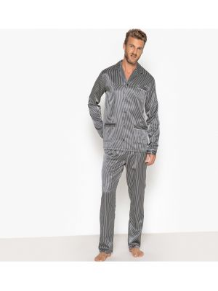 Пижама в полоску атласная La Redoute Collections