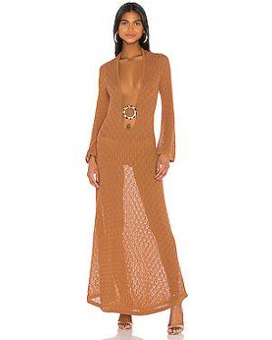 С рукавами оранжевое акриловое расклешенное платье Dodo Bar Or