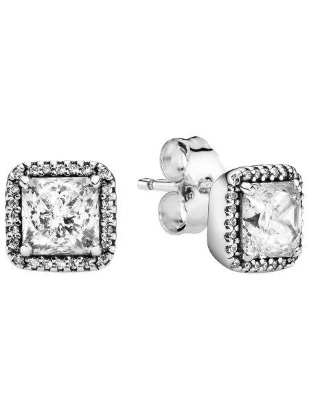 С цирконием серебряные классические серебряные серьги квадратные Pandora