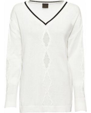 Ажурный пуловер вязаный с V-образным вырезом Bonprix