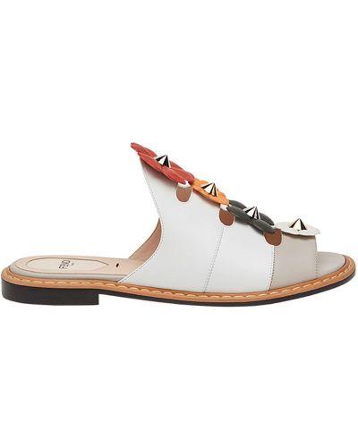 Белые сандалии кожаный Fendi