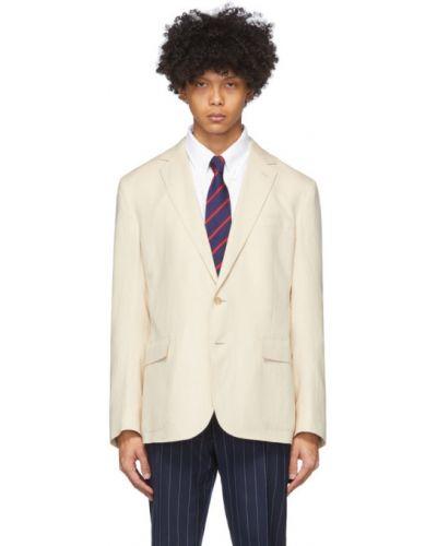 Льняной малиновый удлиненный пиджак с накладными карманами Ralph Lauren Purple Label