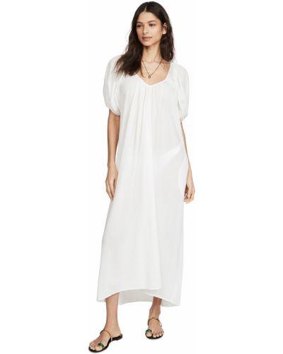 Хлопковое белое платье миди стрейч 9seed