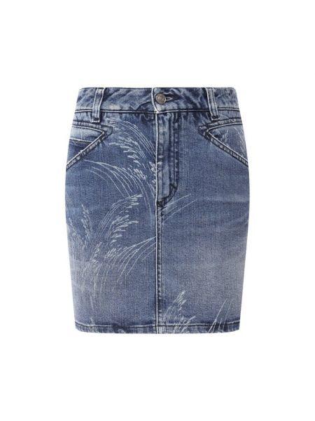 Облегающая хлопковая синяя джинсовая юбка с рисунком Givenchy