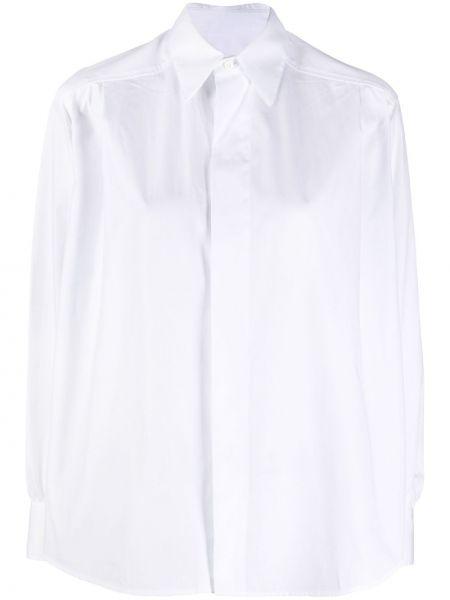 Biała klasyczna koszula bawełniana z długimi rękawami Ami Paris