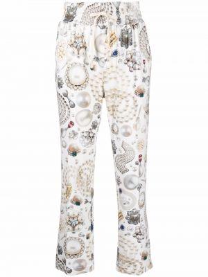 Brązowe spodnie z printem Viktor & Rolf