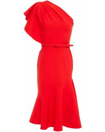 Шерстяное платье миди с поясом на крючках Oscar De La Renta