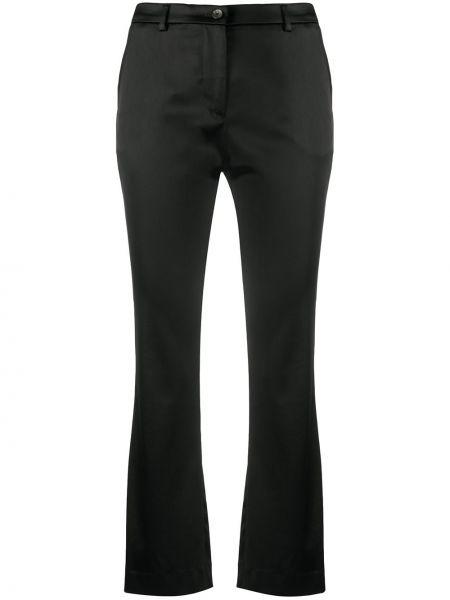 Черные укороченные брюки на молнии узкого кроя Pt01
