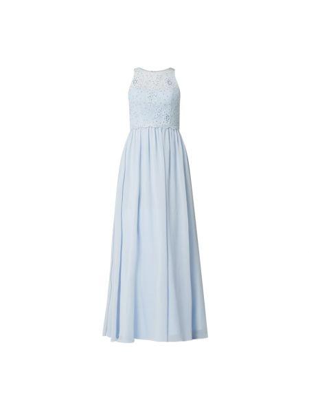Niebieska sukienka wieczorowa rozkloszowana z szyfonu Mascara