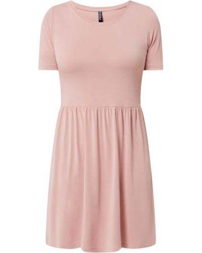 Różowa sukienka mini rozkloszowana krótki rękaw Pieces