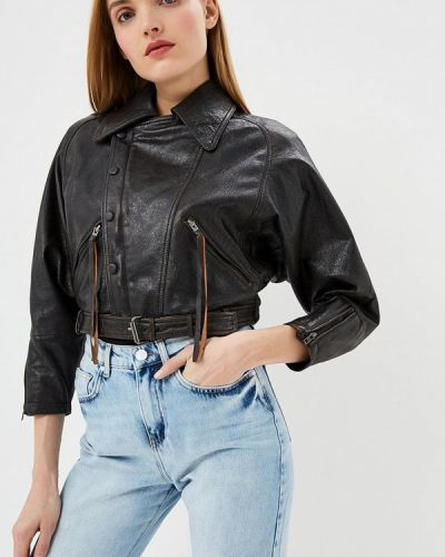 Кожаная куртка весенняя черная Blouson