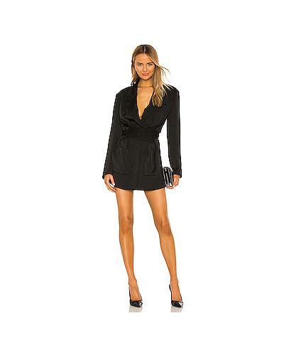 Черное платье мини на пуговицах с карманами из вискозы L'academie